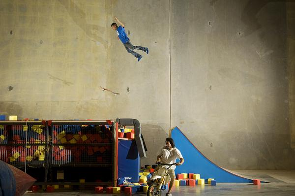 Skater Rob Dyrdek flying into his foam pit.