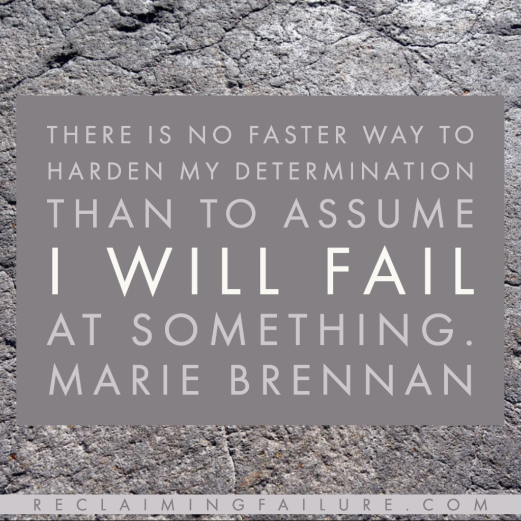 There is no faster way to harden my determination than to assume I will fail at something.	Marie Brennan